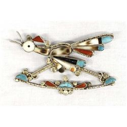 Vintage Native American Zuni Inlay Roadrunner Pin
