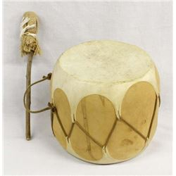 Native American Taos Wood & Hide Drum