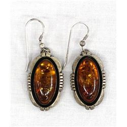Navajo Sterling Amber Earrings by Lonnie Willie