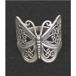 Sterling Silver Filigree Butterfly Ring, Sz 12.5