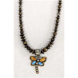 Navajo Copper Bead Necklace & Dragonfly Pendant