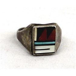 Vintage Native American Zuni Sterling Inlay Ring