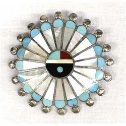 Zuni Sterling Inlay Sun Face Pin Pendant, Wallace