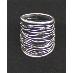 Mexican Sterling Silver Wide Band Ring, Size 9.5