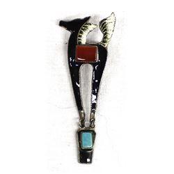 Sterling, Enamel, Turquoise, Carnelian Horse Pin