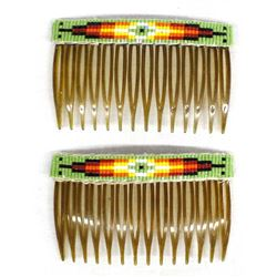 Native American Sioux Beaded Hair Combs