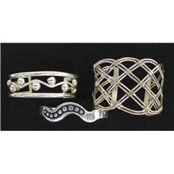 3 Mexican Metal Cuff Bracelets