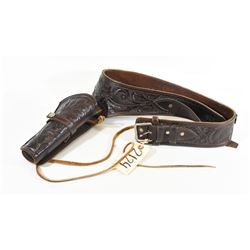 Tooled Brown Leather Belt and Revolver Holster