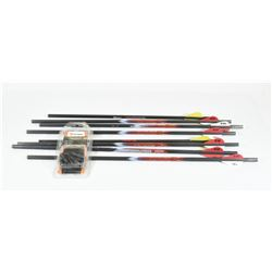 8 Carbon Fiber Crossbow Bolts and Field Tips