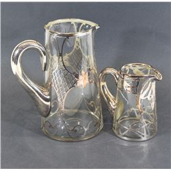 Silver And Glass Jug Set