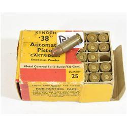 Kynoch 38 Auto Smokeless Ammunition