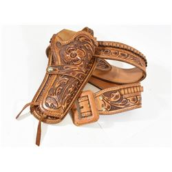 """Tooled Leather Revolver Holster 34-38"""" Waist"""