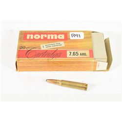 20 Rounds Norma 7.65 Argentine 150 Gr. Sp Ammo