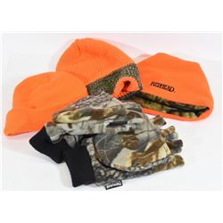 Camo and Safety Orange Hats