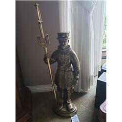 Brass statue w/firepoker