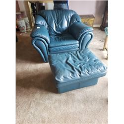 Leather chair and foot rest
