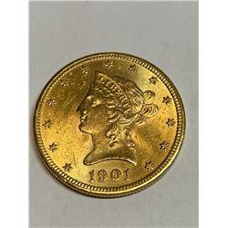 1901 $10 Gold Liberty - AU Plus Grade