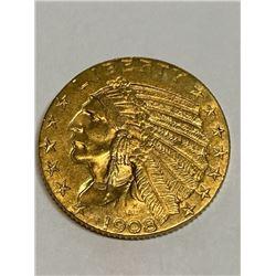 1908 D $5 Gold Indian - XF Grade