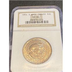 1954 S Wash. Carver MS 64 NGC Half Dollar