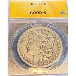 1889 CC Good 06 ANACS Morgan Silver Dollar