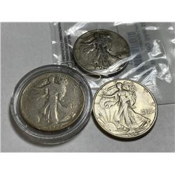 Lot of 3 Walking Liberty Half Dollars -