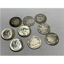 Lot of 9 US Silver Dimes -  90% Silver