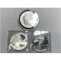 3 pc. DATE RUN 1990s-91s-92s US Proof Silver Eagl