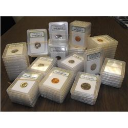 Lot of 100 Slabbed INB Coins- BU-Proof
