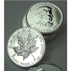 Lot of (10) SIlver Maple Leaf Bullion rds. 1 oz