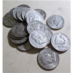 $10 face Value -90% Silver Franklin Halves