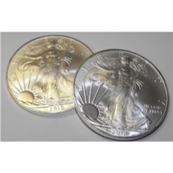 Lot of (2) US SIlver Eagles - BU Grade -