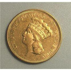 1885 Rare $3 Gold Princess Collectible Coin