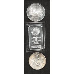 Lot of (3) 1 oz Silver Bullion Items- Bar & Rounds
