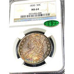 1830 MS 64 NGC CAC Bust Half Dollar NGC Slab