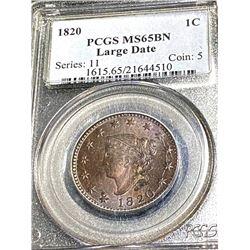 RARE 1820 MS65BN PCGS Large Cent