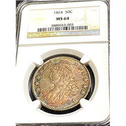 1824 MS 64 NGC Bust Half Dollar