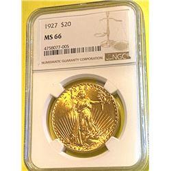 1927 MS 66 NGC $20 Gold Saint Gauden's