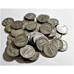 (50) mercury Dimes -90% Silver Lot