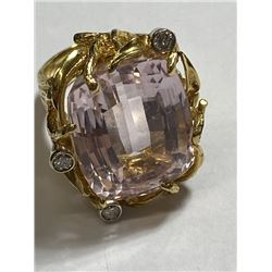 RARE Large 17 ct. Kunzite Ring in 14k YG
