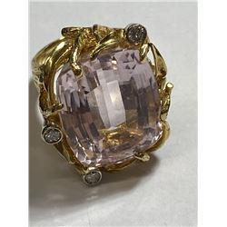 RARE Large 17 ct. Kunzite Ring in 14k YG