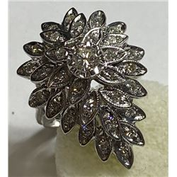1 tcw. White Diamond Chandelier Style Ring 14k WG