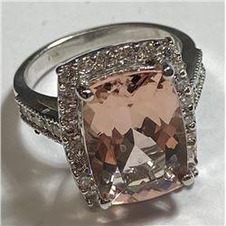 13.2 tcw. Morganite and Diamond Ring 14k WG