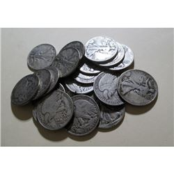 Lot of (20) Walking Liberty Half Dollars - 90% Sir