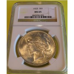 1923 MS 65 NGC Peace Silver Dollar