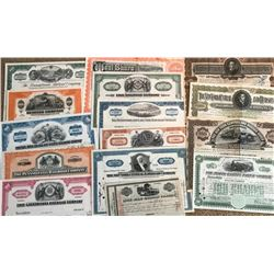 25 pcs. Railroad Stock Certificates
