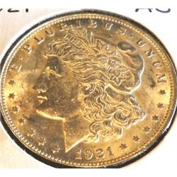 1921 P AU Grade Morgan Dollar