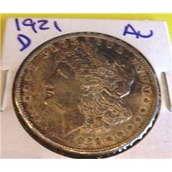 1921 D AU Grade Morgan Dollar