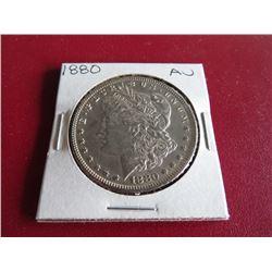 1880 P AU Grade Morgan Silver Dollar