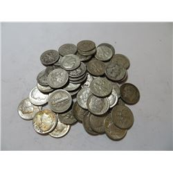 50 pcs. Mercury/Roosevelt 90% Silver Dimes