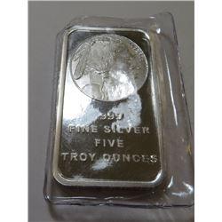 5 oz. Buffalo Design Silver Bar - .999 Pure